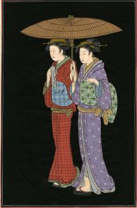TWO JAPANESE LADIES UNDER ONE UMBRELLA