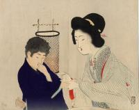 WOMAN URGING YOUTH TO DRINK SAKE