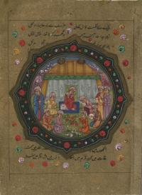 KING RECEIVES A BOOK OF PAINTINGS FROM NOBLEMAN