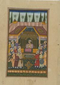 A SULTAN ENTERTAINING COURTIERS IN ROYAL TENT