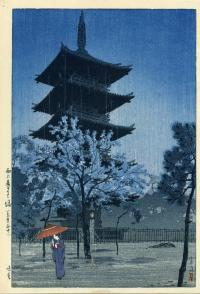 PAGODA IN EVENING RAIN AT UENO