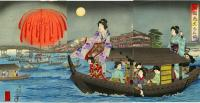 LADIES ENJOY FIREWORKS OVER RYOGOKU BRIDGE WHILE BOATING ON SUMI
