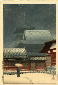 SNOWY NIGHT AT TENNOJI TEMPLE IN OSAKA