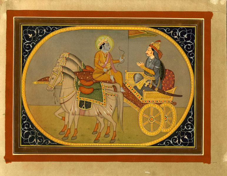 KRISHNA ON FOUR-HORSE DRAWN CHARIOT WITH MAN