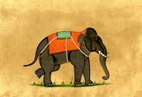 ELEPHANT WITH ORANGE AND GREEN BLANKET