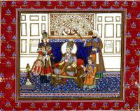 SHAR BAHADUR II SEATED UNDER WALL WITH ASTROLOGICAL SYMBOLS