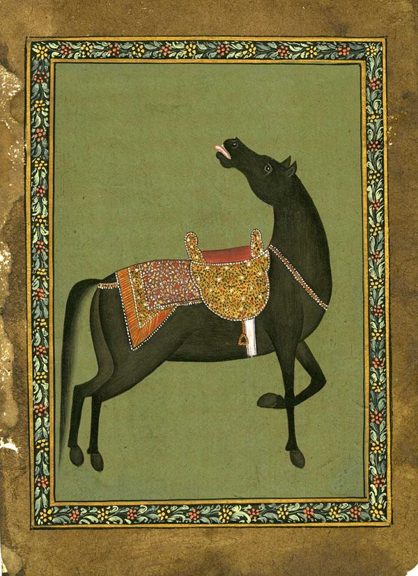 BLACK STALLION WITH GOLD SADDLE