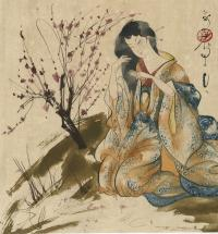 WOMAN IN FLOWING GOWN BRUSHING HER HAIR