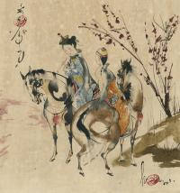 TWO YOUNG ROYAL LADIES PLAYING FLUTE WHILE ON HORSES