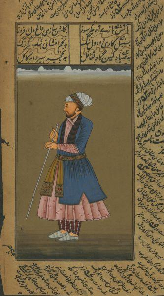 MAN WITH STAFF AND BLUE TOP COAT