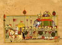 AN ELABORATE PROCESSION WITH HEAD AND HAND STAFFS
