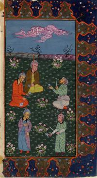 FIVE MEN DRINKING WINE ON CLOUDY NIGHT