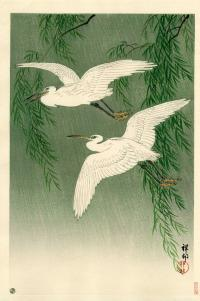WHITE HERON AND WILLOW IN RAIN