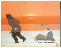 MAN PULLING A SLED UNDER ORANGE SKY