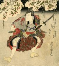 HANDSOME SAMURAI UNDER CHERRY BLOSSOM BRANCHES - SURIMONO
