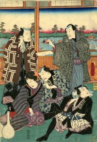 THREE CRAFTSMEN TALKING TO A RICH MAN AND A WOMAN