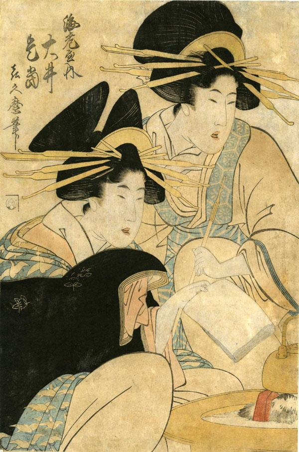 COURTESAN OI OF THE EBIYA HOUSE AND HER FRIEND BY HIBACHI